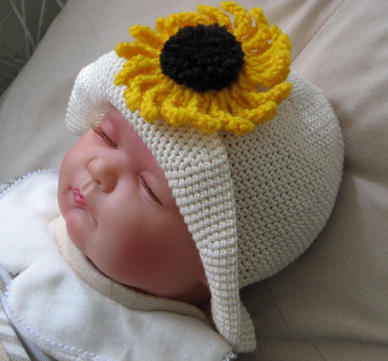 Sunflower Crochet Baby Hat Pattern : Crochet Pattern for Sunflower Hat in 4 by KeepersCottageCrafts