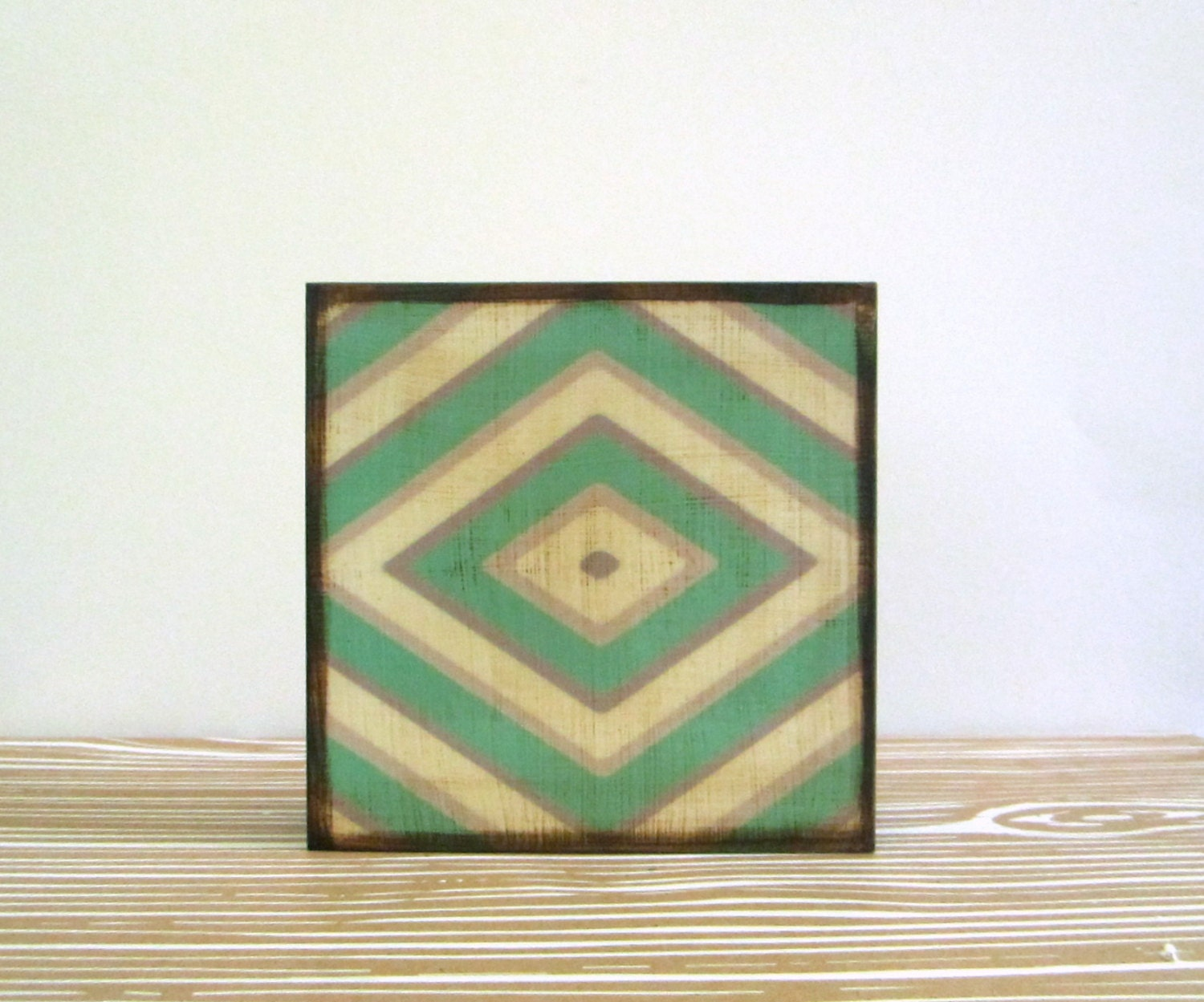 Striped Diamond Wall Decor l Art  Block 5x5 l green emerald gray white wood redtilestudio - redtilestudio