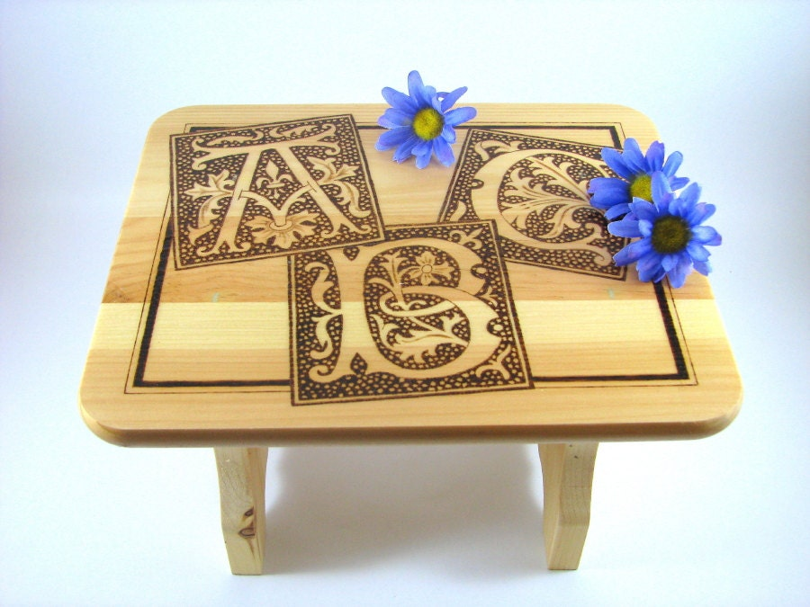 Wood Stool - Wood Pyrography - Decorative Stool - bkinspired