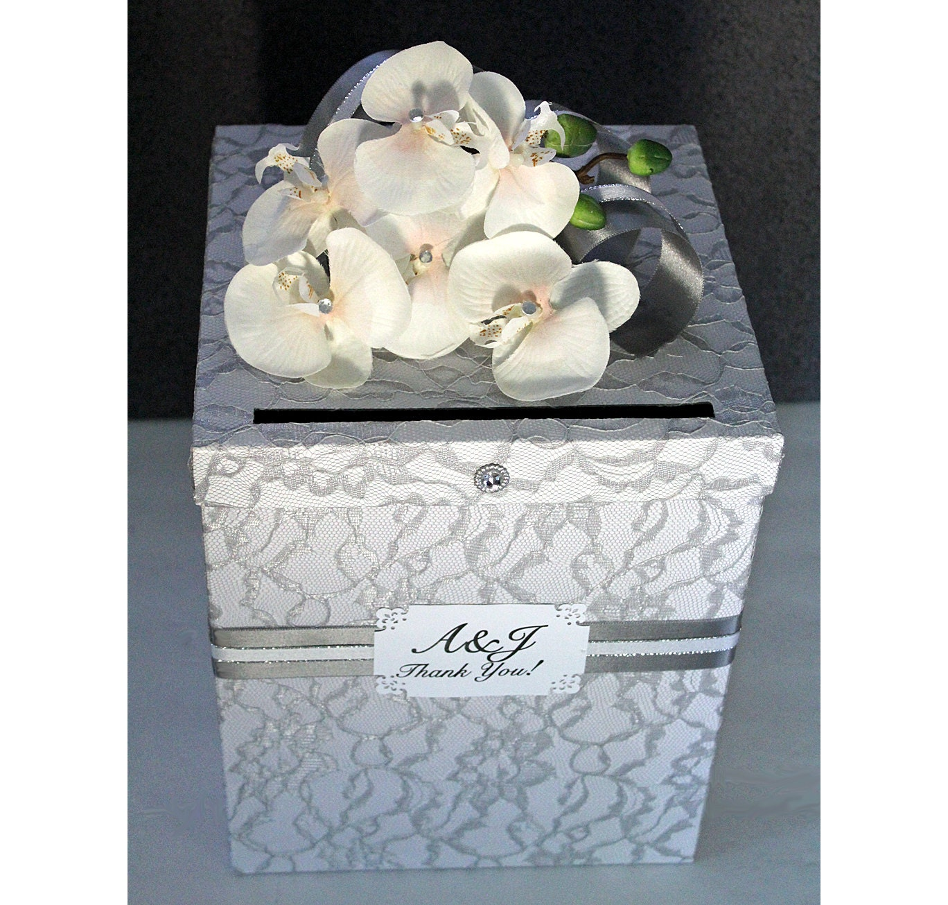 Items Similar To Wedding Card Box Silver Gray Lace Amp White Single Tier Wedding Card Holder