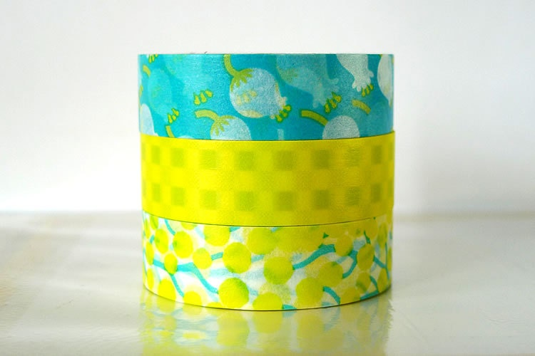 Japanese Lily of the Valley Washi Tape Aqua Blue, Bright Yellow masking tapes - Set of 3 PrettyTape