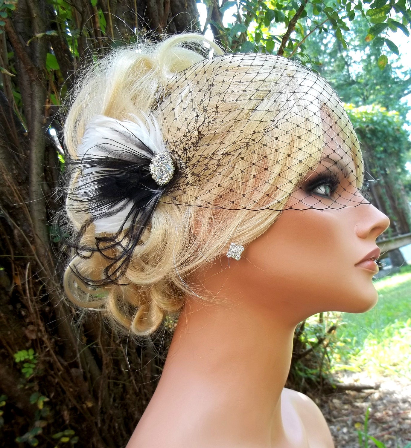 Black White Bridal Fascinator with color choice Bandeau French Net Bridal Veil- fascinator, head piece wedding veil