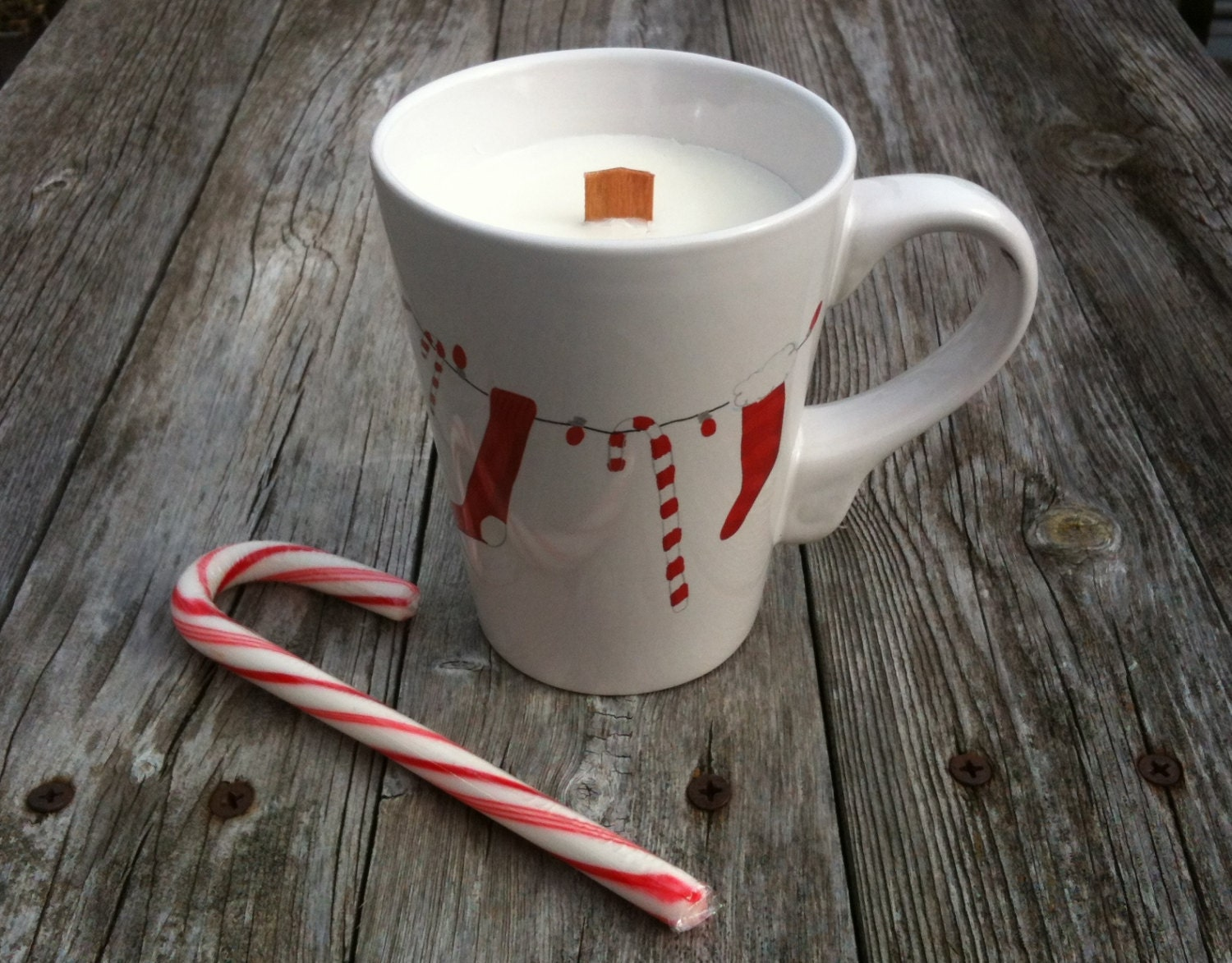 Candy Cane Mug Christmas Candle Wood Wick 100 Percent Soy - SandyLandStudio