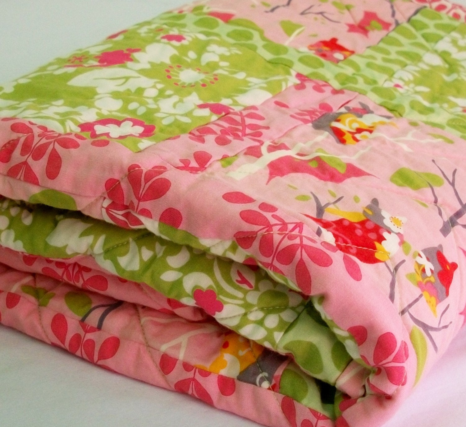 In the Pink Owl Handmade Patchwork Baby Quilt