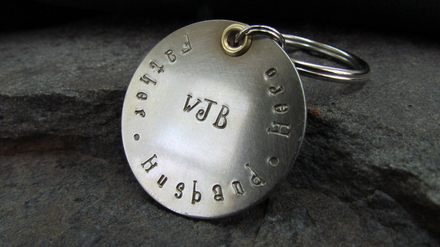 Keychain - Father's Day - Accessories - Hand Stamped Metal - Father's Day Gift