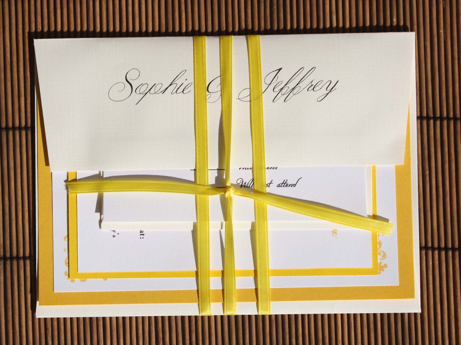 Yellow Wedding Invitations - Yellow and White Classic Wedding Invitation Suite - Purchase to start the ordering process-