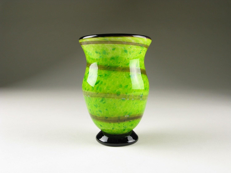 SALE Home Decor Lime Green Art Glass Urn Vase