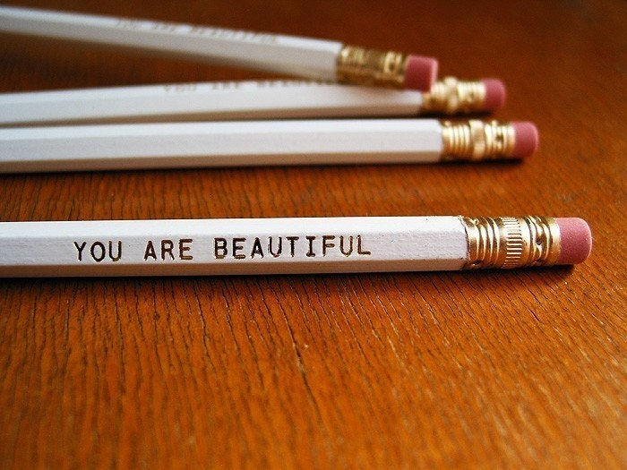 YOU ARE BEAUTIFUL white hexagonal no. 2 pencil set - pay it forward - set of three