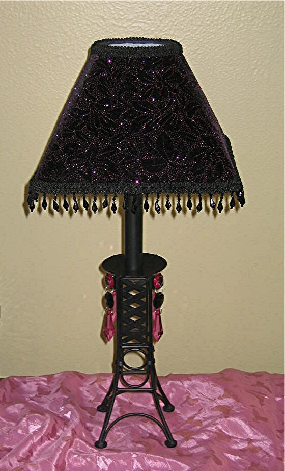 black eiffel tower table lamp and shade by valsunique on etsy. Black Bedroom Furniture Sets. Home Design Ideas