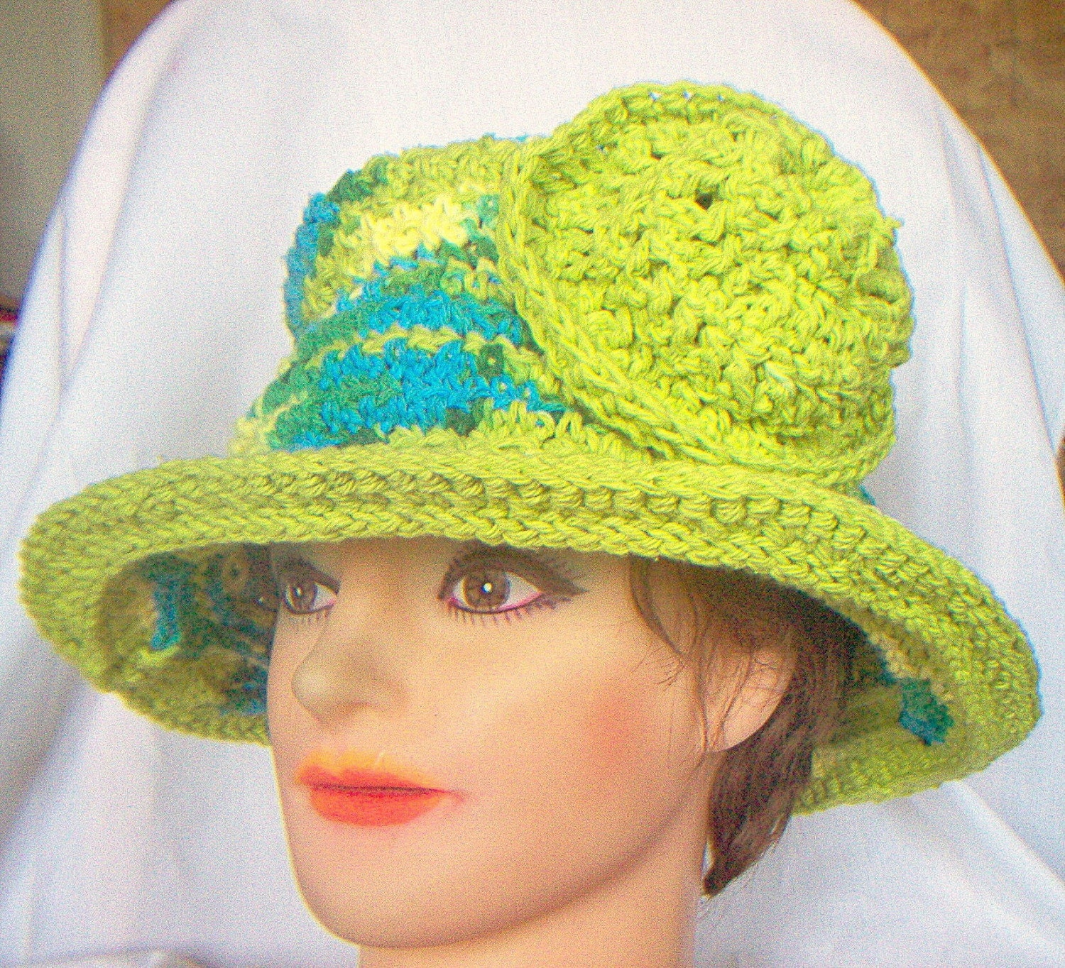 Brim Hat in Green Cotton Yarn by strawberrycouture on Etsy from etsy.com