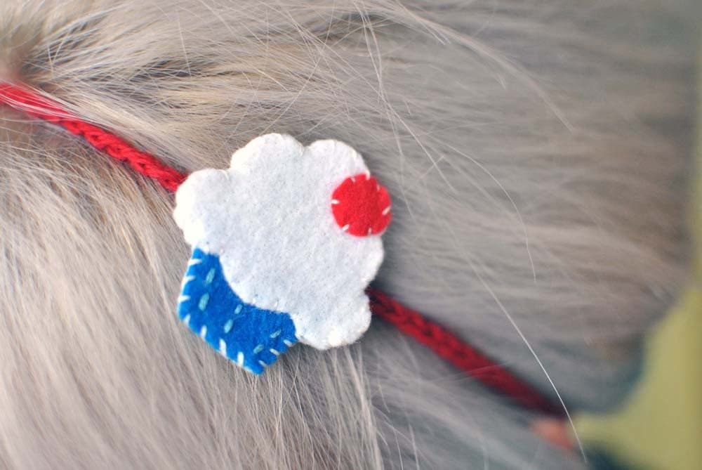 Cute as a Cupcake Headband - Blue and Red
