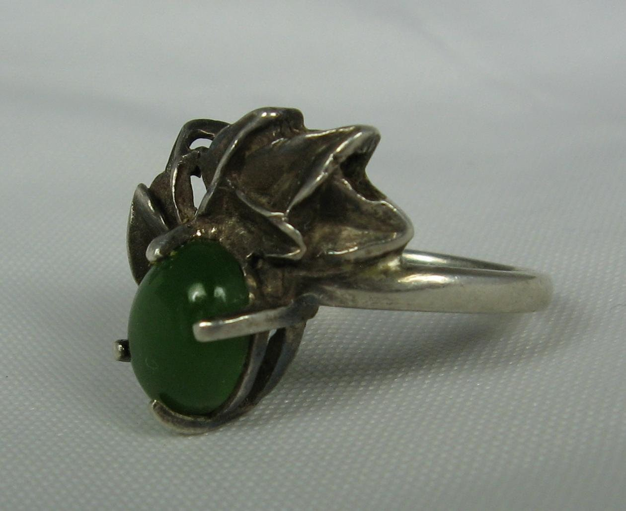 vintage jade ring 7 5 sterling silver abstract by