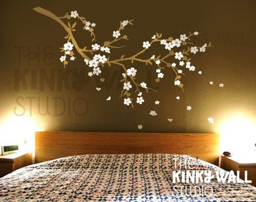 Cherry Blossom Dreams with FREE BUTTERFLIES - vinyl sticker wall decal - KK117 - Children Baby Kid nursery Boy Girl