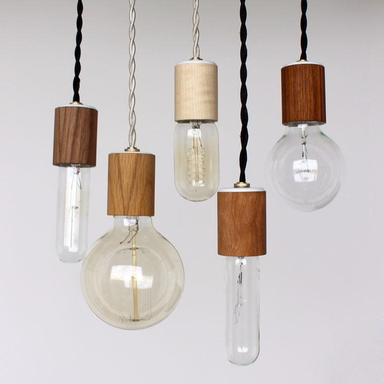 Items Similar To Wood Veneered Pendant Light With Bulb On Etsy