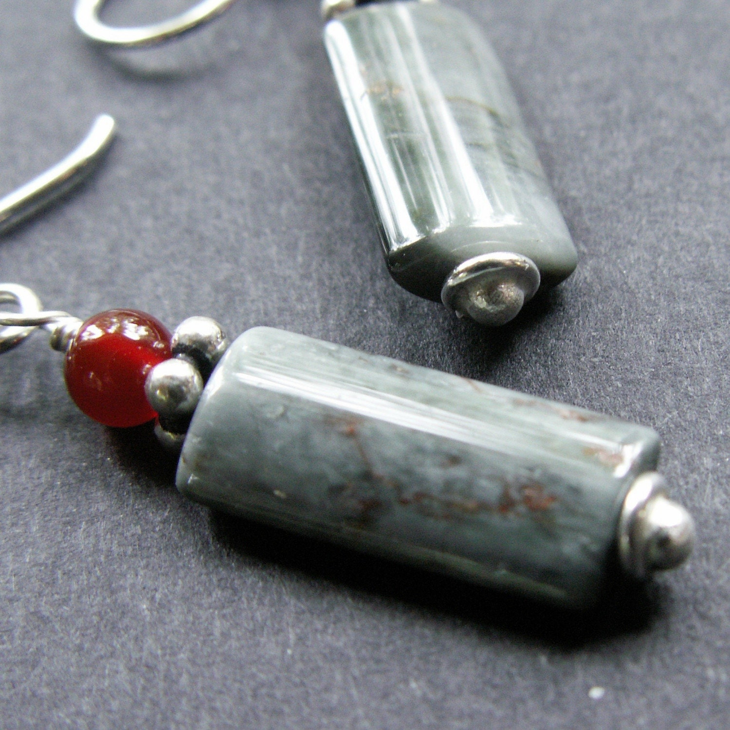 handmade jewelry earrings sterling silver cassiterite carnelian