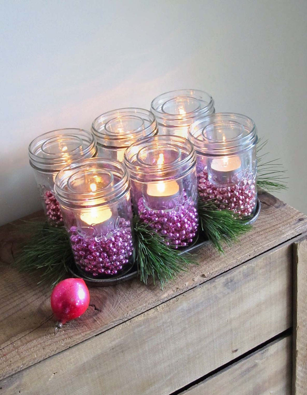 Christmas mason jar luminaries centerpiece by cattales on etsy