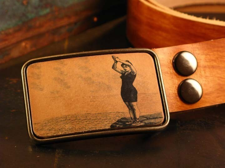 Take a leap of faith leather belt buckle