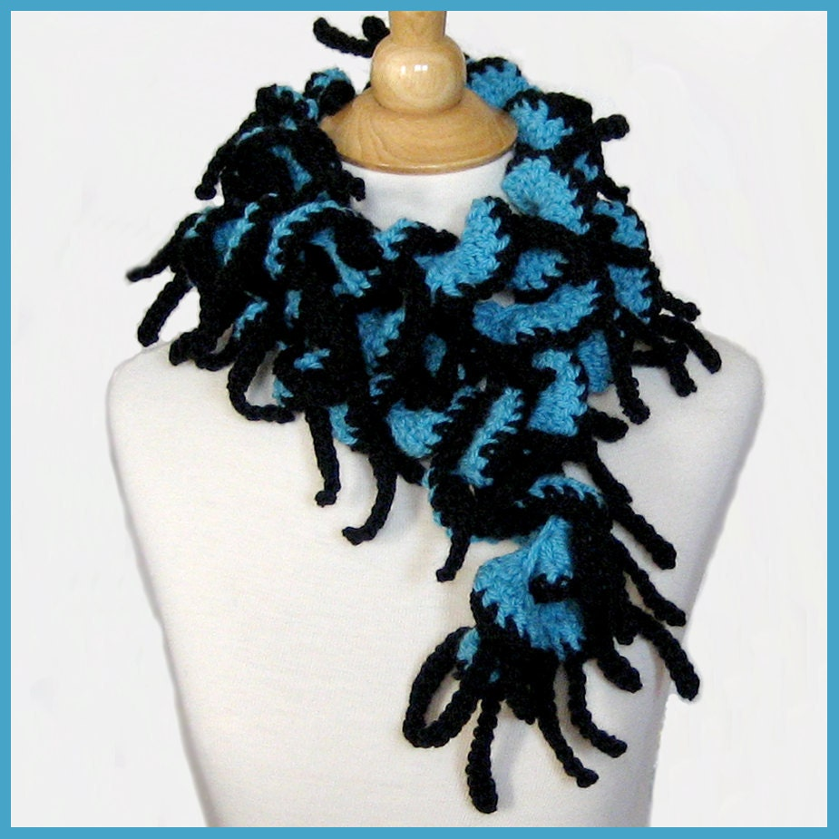 Turquoise and Black Scarf Crocheted Merino Wool Tender Tendrils