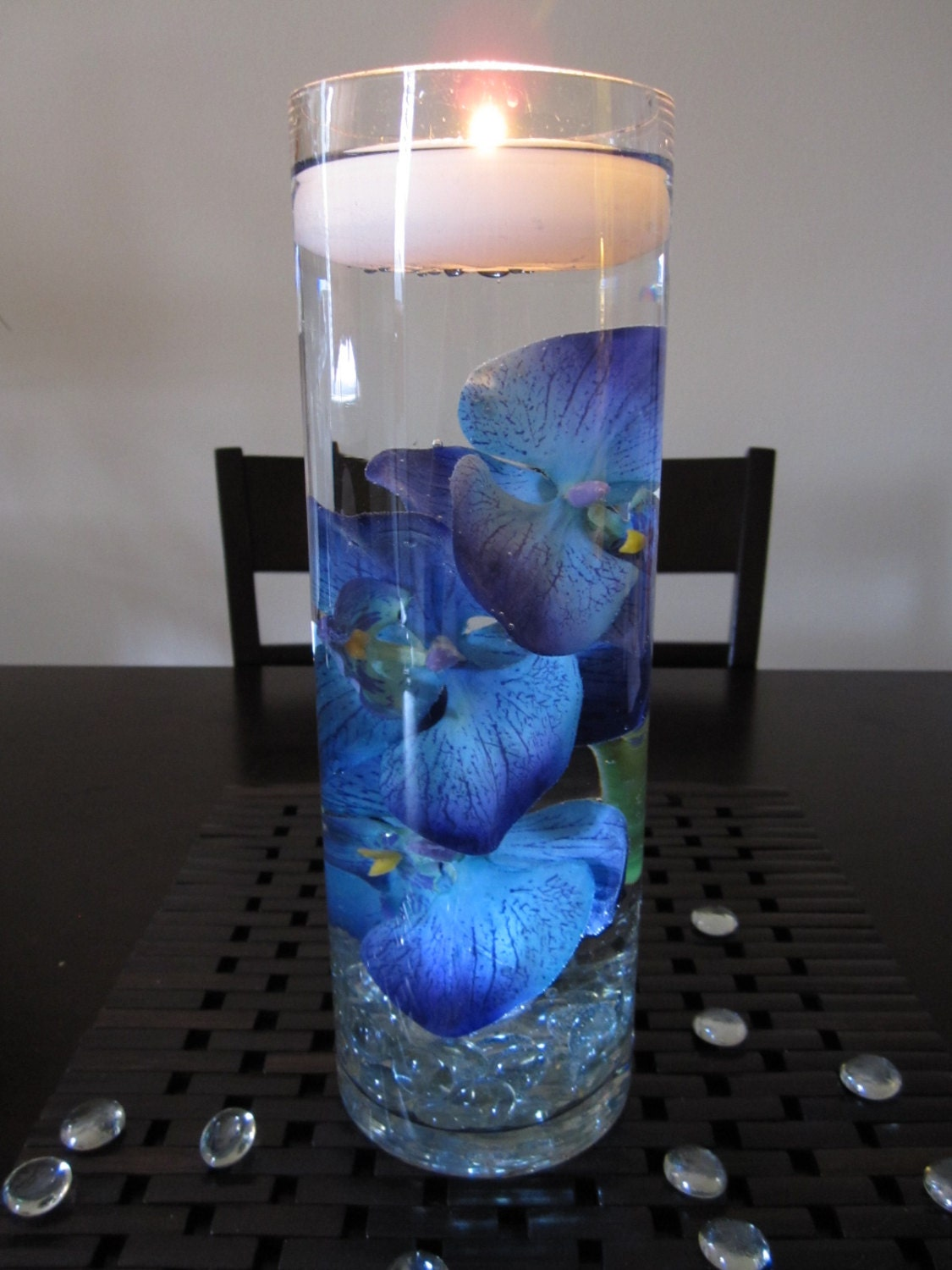 Blue purple orchid floating candle wedding by roxyinspirations for Midnight blue centerpieces