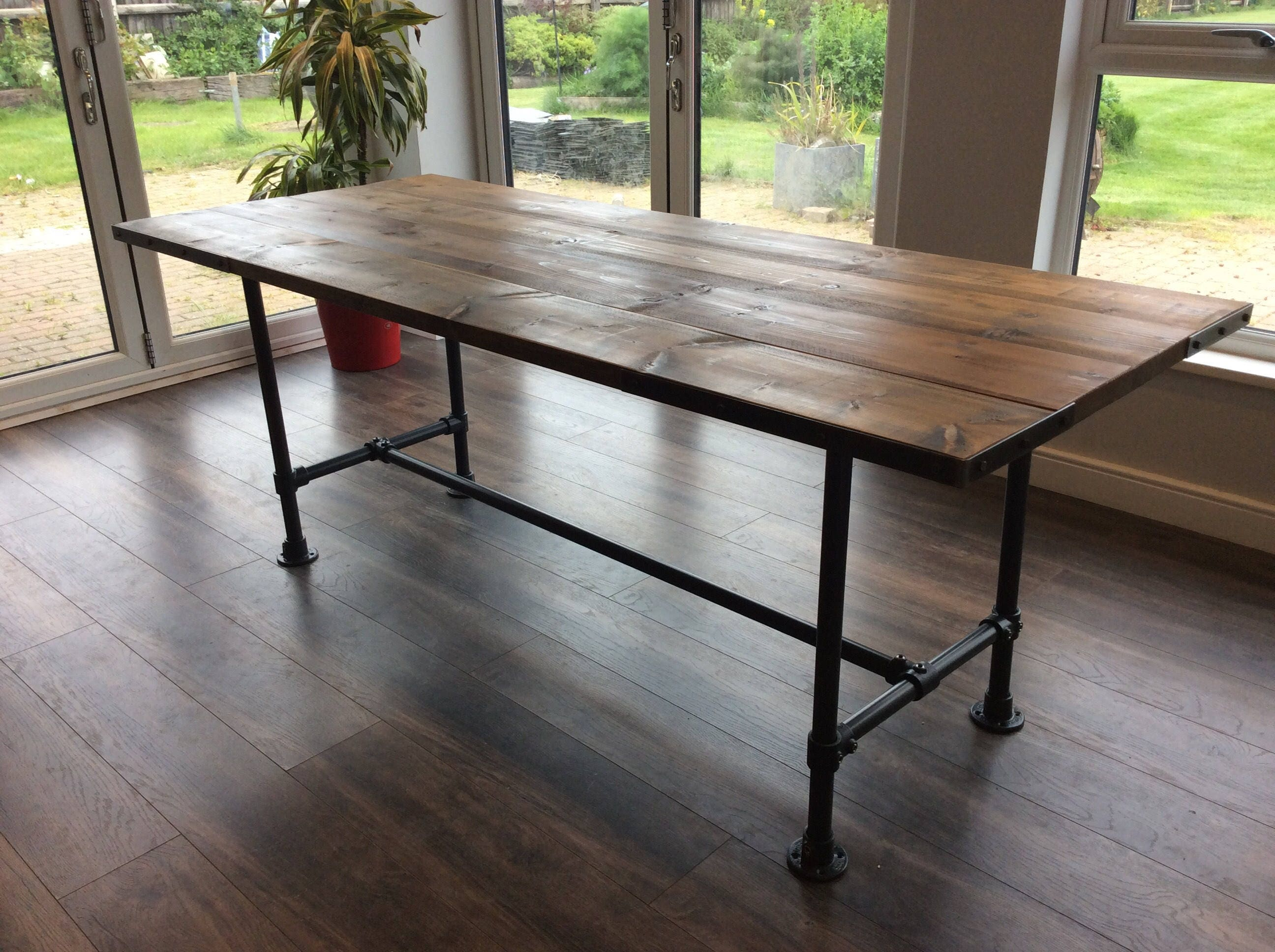 Solid wooden dining table dining table with bench industrial chic reclaimed industrial table repurposed timber