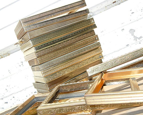 Ten 5x7 gold metal frames large frame bulk by thedistressinggirl - Eclectic picture frame wall ...