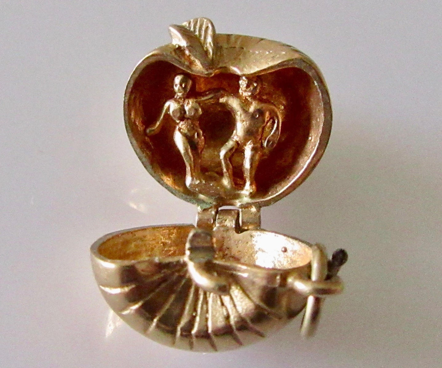 9ct Gold Apple Charm Opens to Adam and Eve