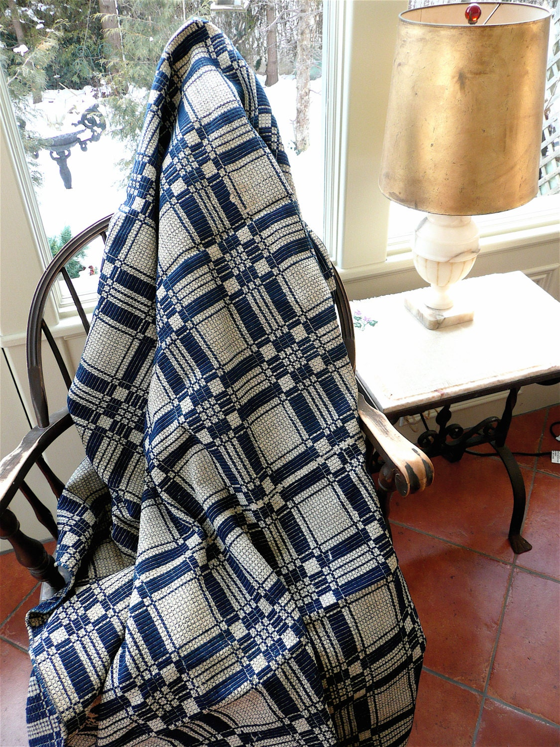 Antique Coverlet - American Coverlet - Blue and White Throw - Overshot Coverlet - Blue And White Quilt - Jacquard Coverlet - American Quilt - thekingsmistress