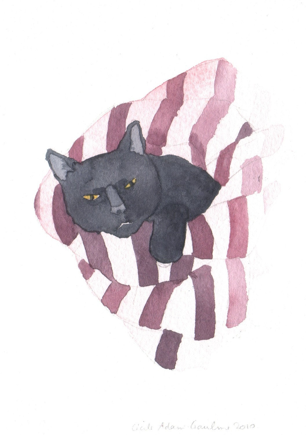 Black Cat in Pinkish Red Stripes Original Watercolor Painting
