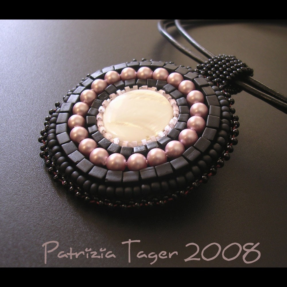 Black and Pink Pearl Pendant