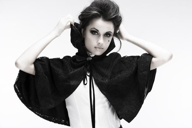 Super Haute Silk and Lace Black Hooded Capelet