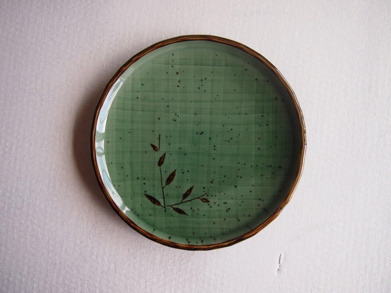 Green Japanese plate vintage leaf design brown detail Asian serving dish - Octavi