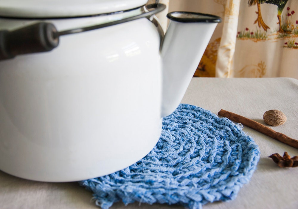 Pot Holder - Blue - Rag Crochet - Rustic Kitchen Decor - Modern Farmhouse Textile Arts - BobbiLewin