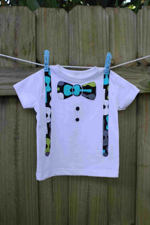 Guitar Bow Tie & Suspenders Appliqued T-Shirt