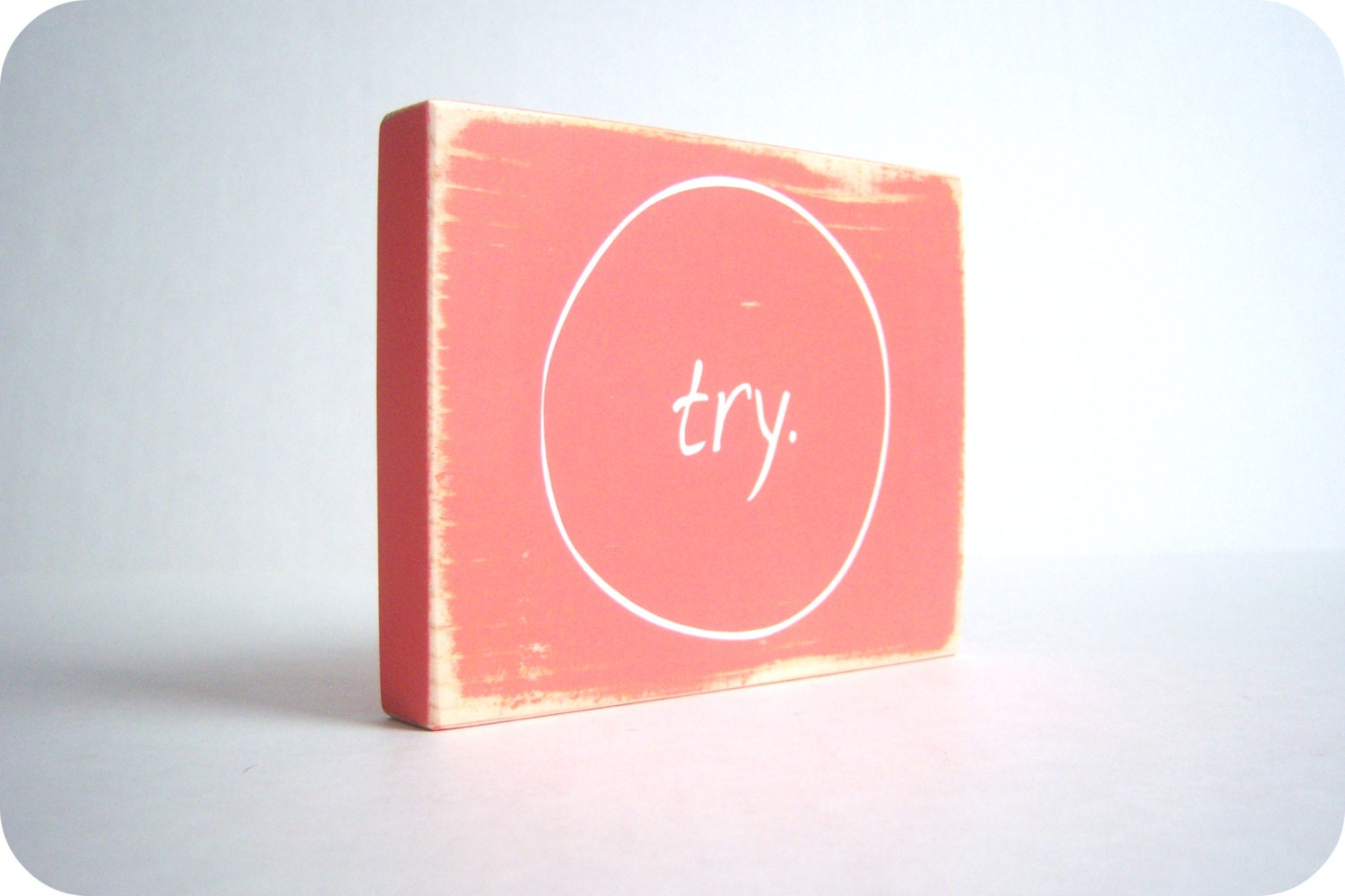 Try. Wood Block Home Decor and Gift. - bubblewrappd