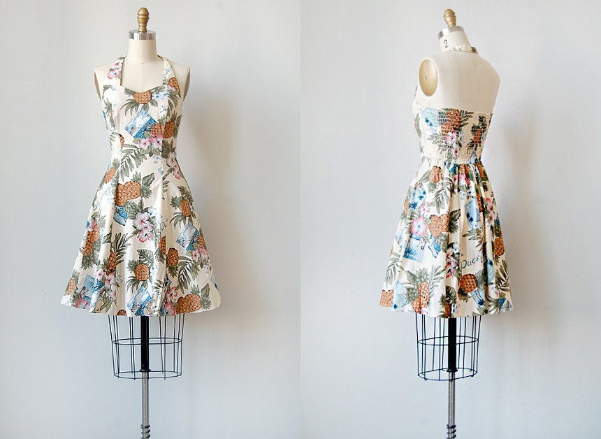 vintage 1970s island print halter dress | PACIFIC COASTLINE DRESS