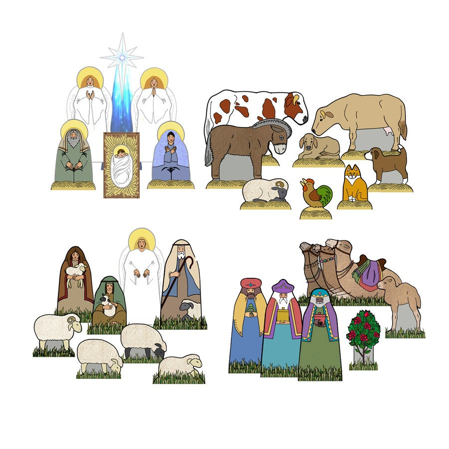 The COMPLETE Christmas Creche - Paper Cut-Out DIY Kit - Pre-printed Heavy Cardstock - Free Shipping continental USA - NatureTableTreasures