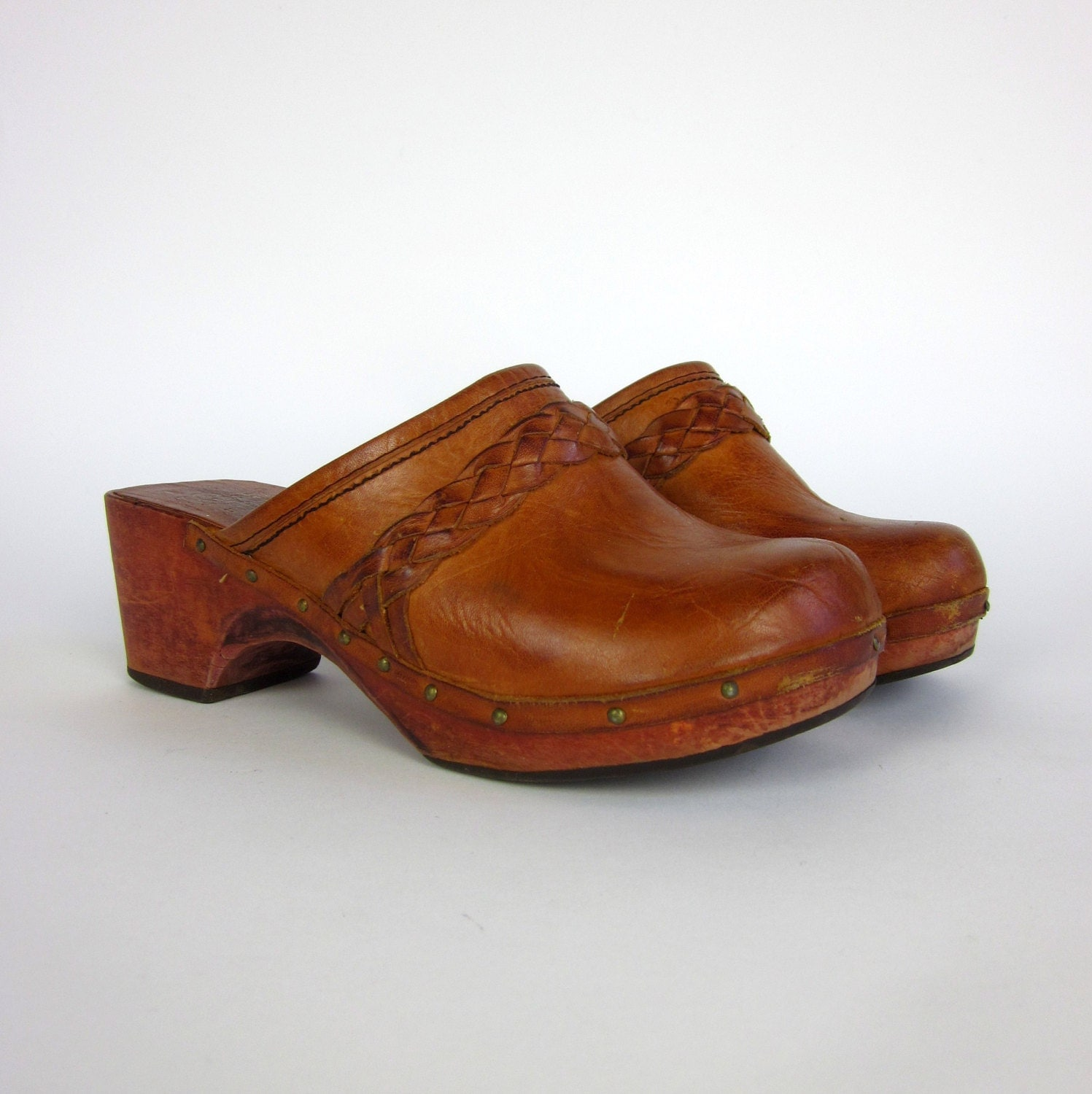 Womens Size 5 Leather Clogs 70s / Vintage Kinney By AttysVintage