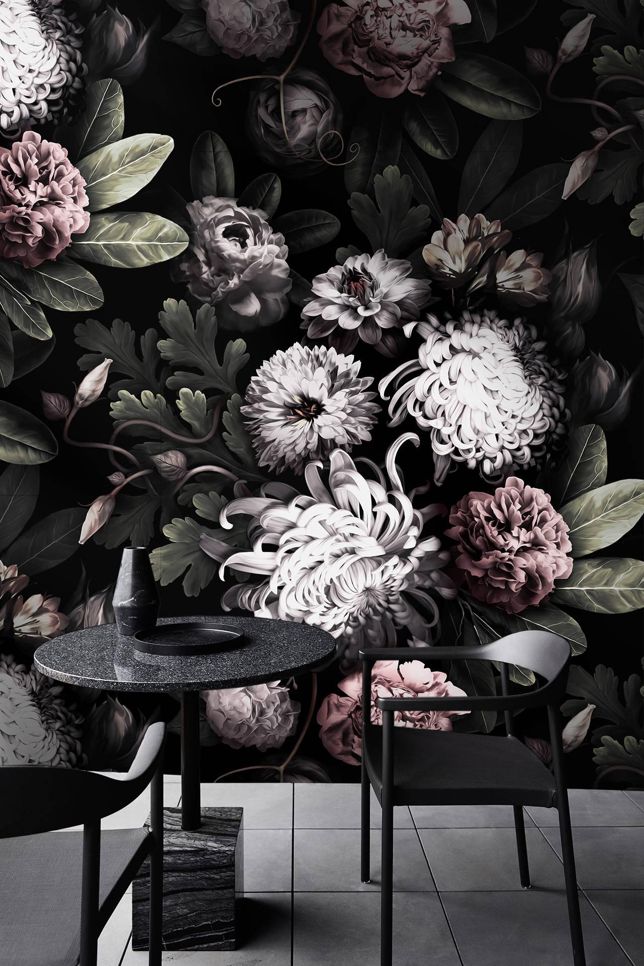 Dark Floral Wallpaper Dark Flowers Wallpaper Vintage Floral Wallpaper