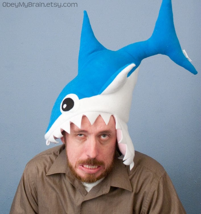 Plush Shark Hat/Pillow - Blue