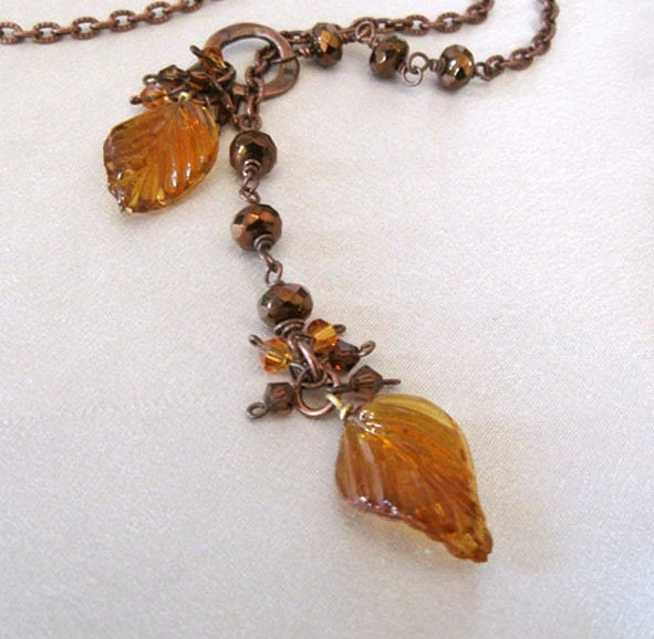Amber Glass Leaves Lariat Necklace in by sendinglovegallery necklace