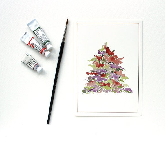 Christmas Tree Watercolor Painting - Set of 8 Blank Holiday Cards -  Purple Red Green White - trowelandpaintbrush