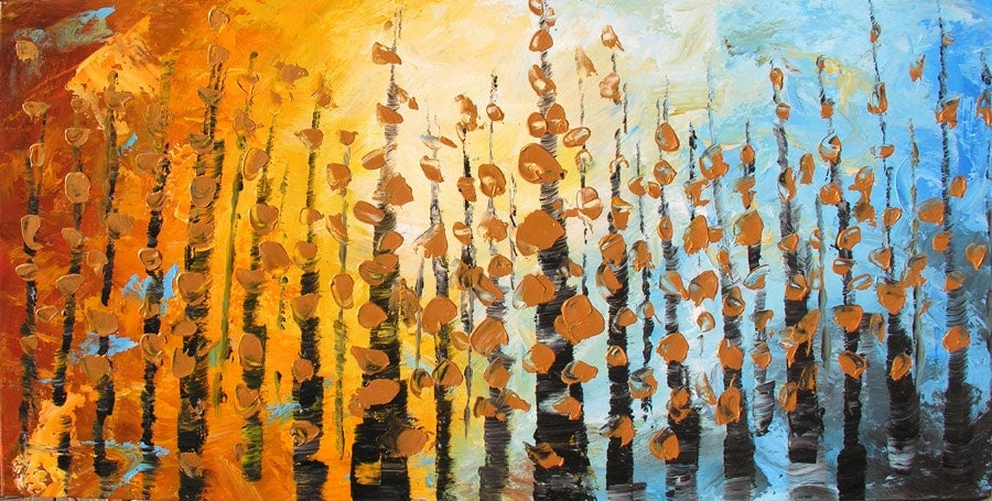 Whispering Leaves 45 x 23  Original Oil Painting Palette Knife Forest Fall Blue Orange Gold Leaf Trees ART  by Marchella - decorpro