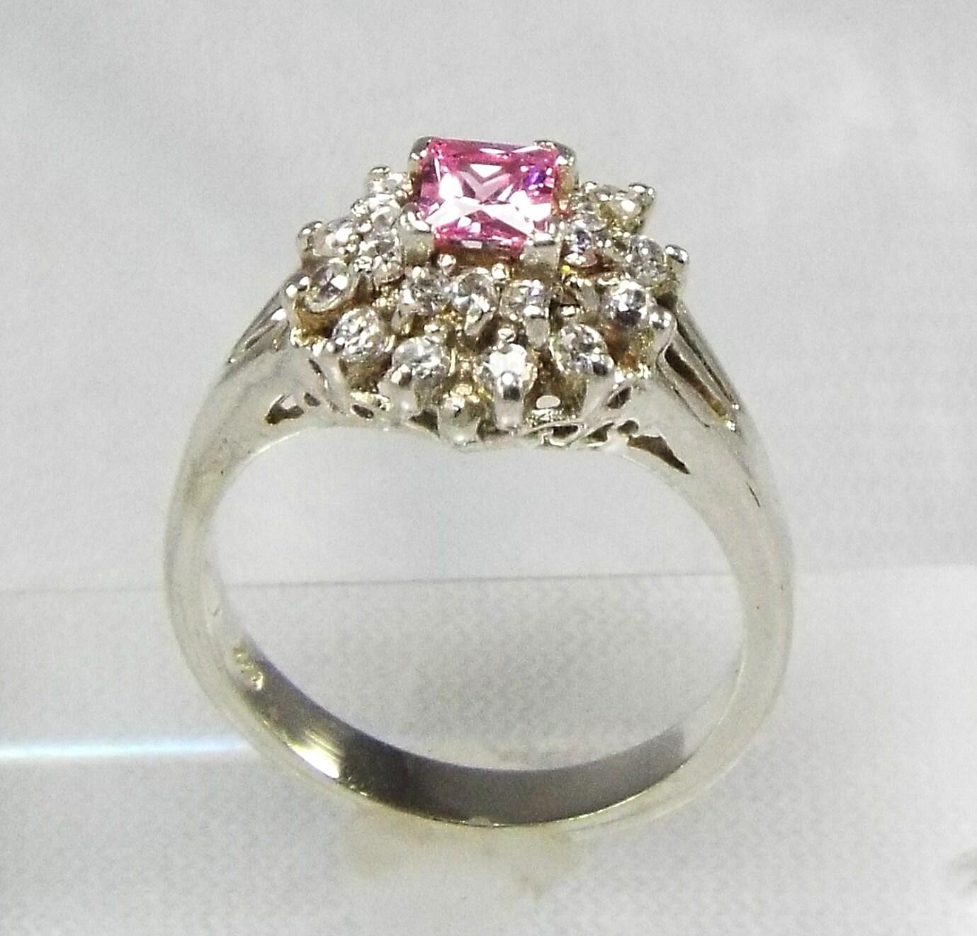 Ring Tiered Pink Princess Ring Illuminated Diamond  Tower Ring
