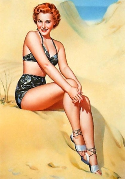beach scene pin up girl for sewing