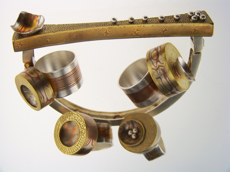 Artistic Silver and Mokume-Gane Bracelet