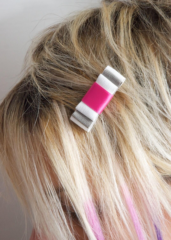clip barrettes pink grey white