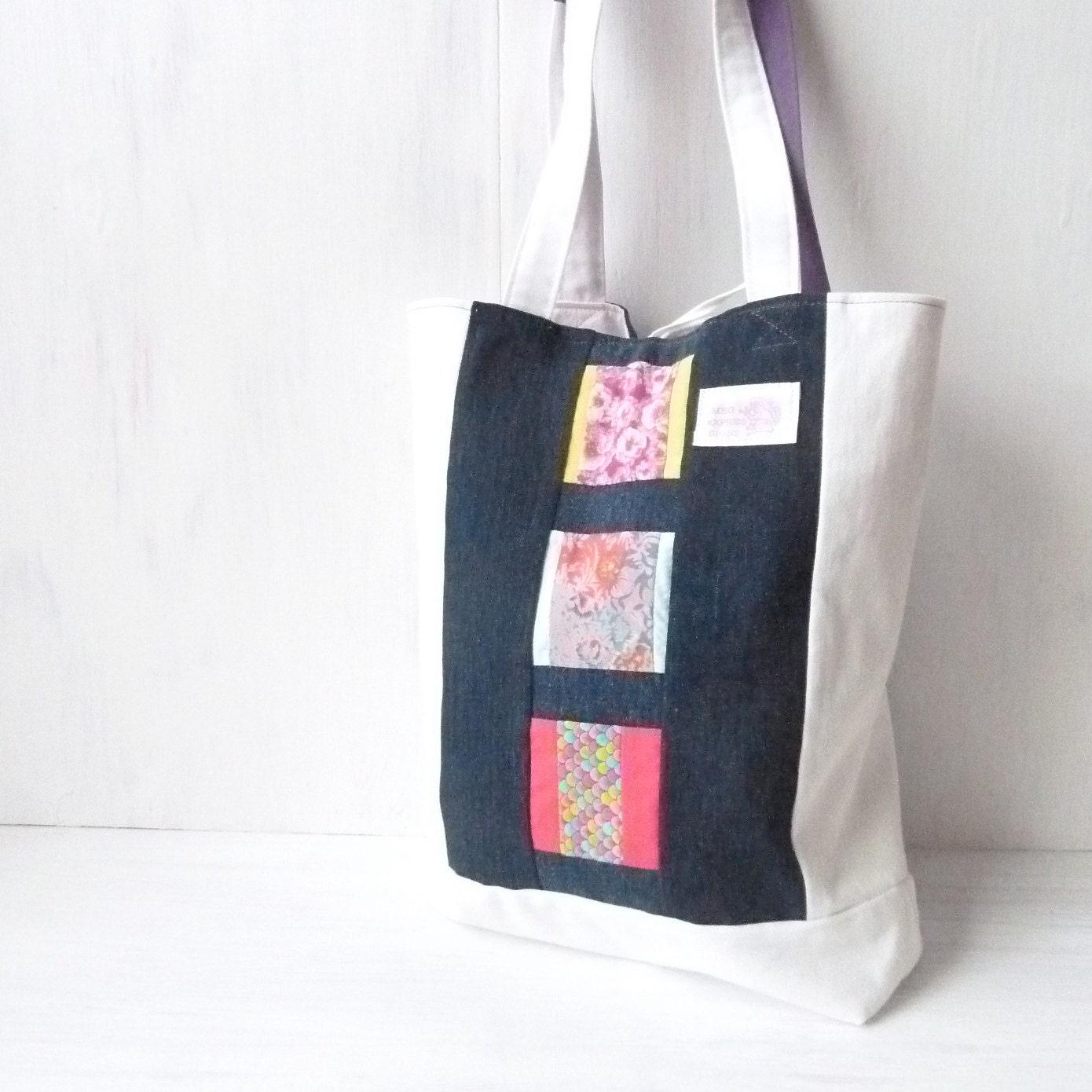 Items similar to Unique Totes. Patchwork Denim Bag. Girls Book Bag. Denim Bags Tote. Shabby Chic ...