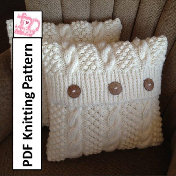 PDF KNITTING PATTERN - Blackberry Cables 16 x 16 pillow cover - LadyshipDesigns