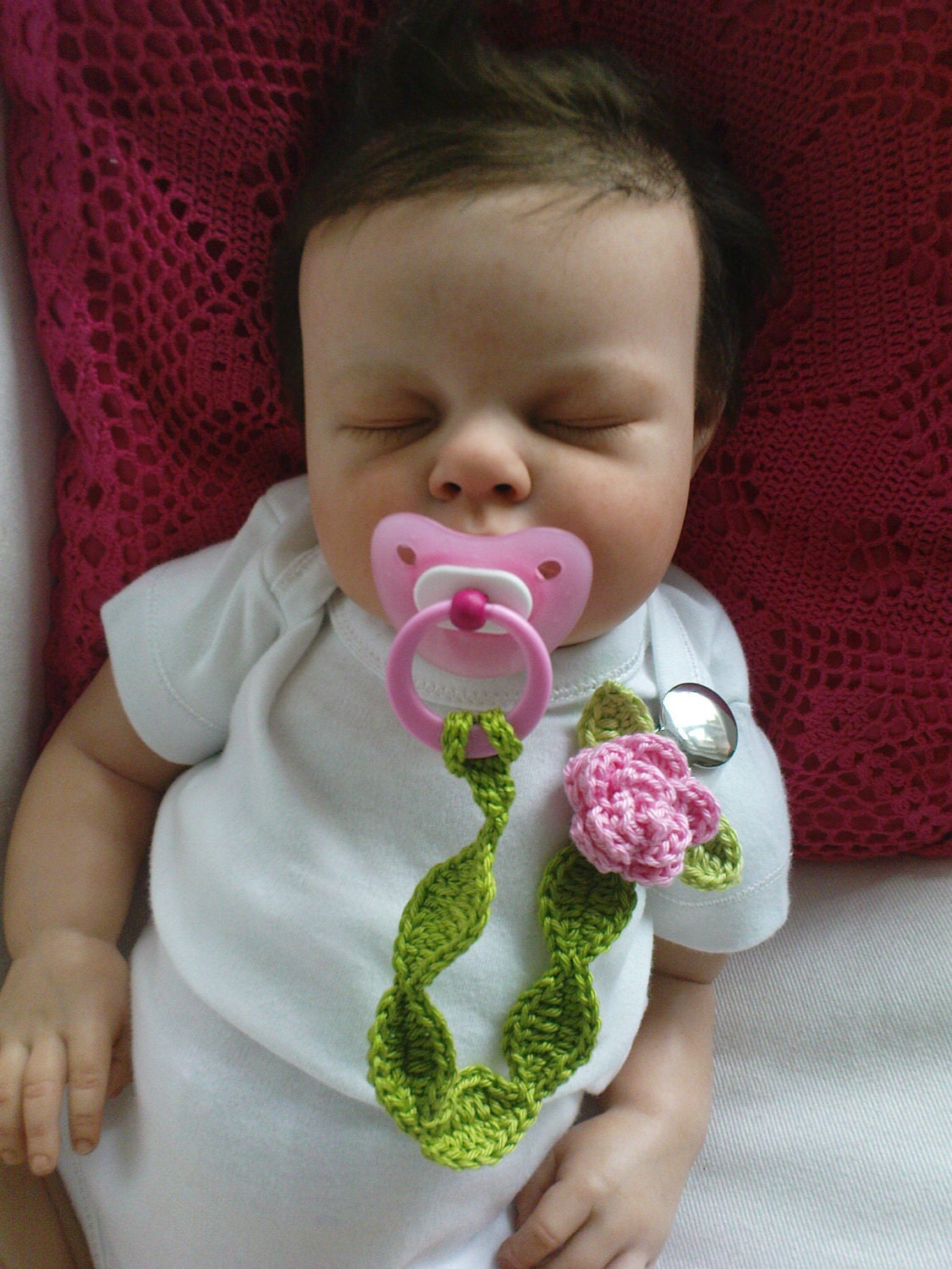 Pacifier Holder Pink Rose - TeenyWeenyDesign