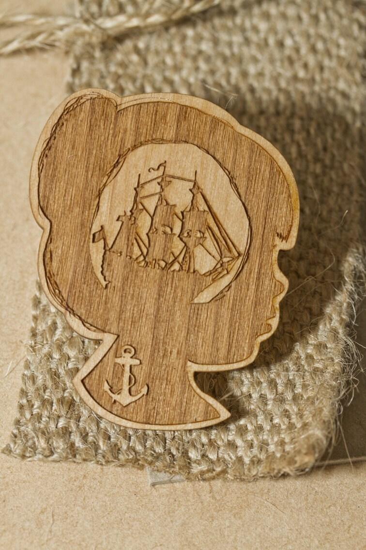 Ships Ahoy Wooden Brooch